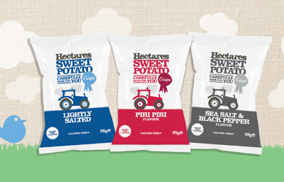 Hectares range of Sweet Potato Crisps and Snacks