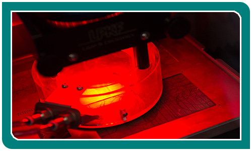 Close up of Etching equipment in red glow