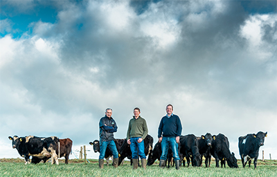 Pictured: Rory Christie of Dourie Farm, Graham Armstrong of Kirvennie Farm and Charlie Russell of Glenapp Estate.