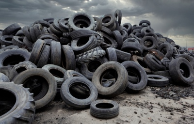 A pile of used rubber tyres