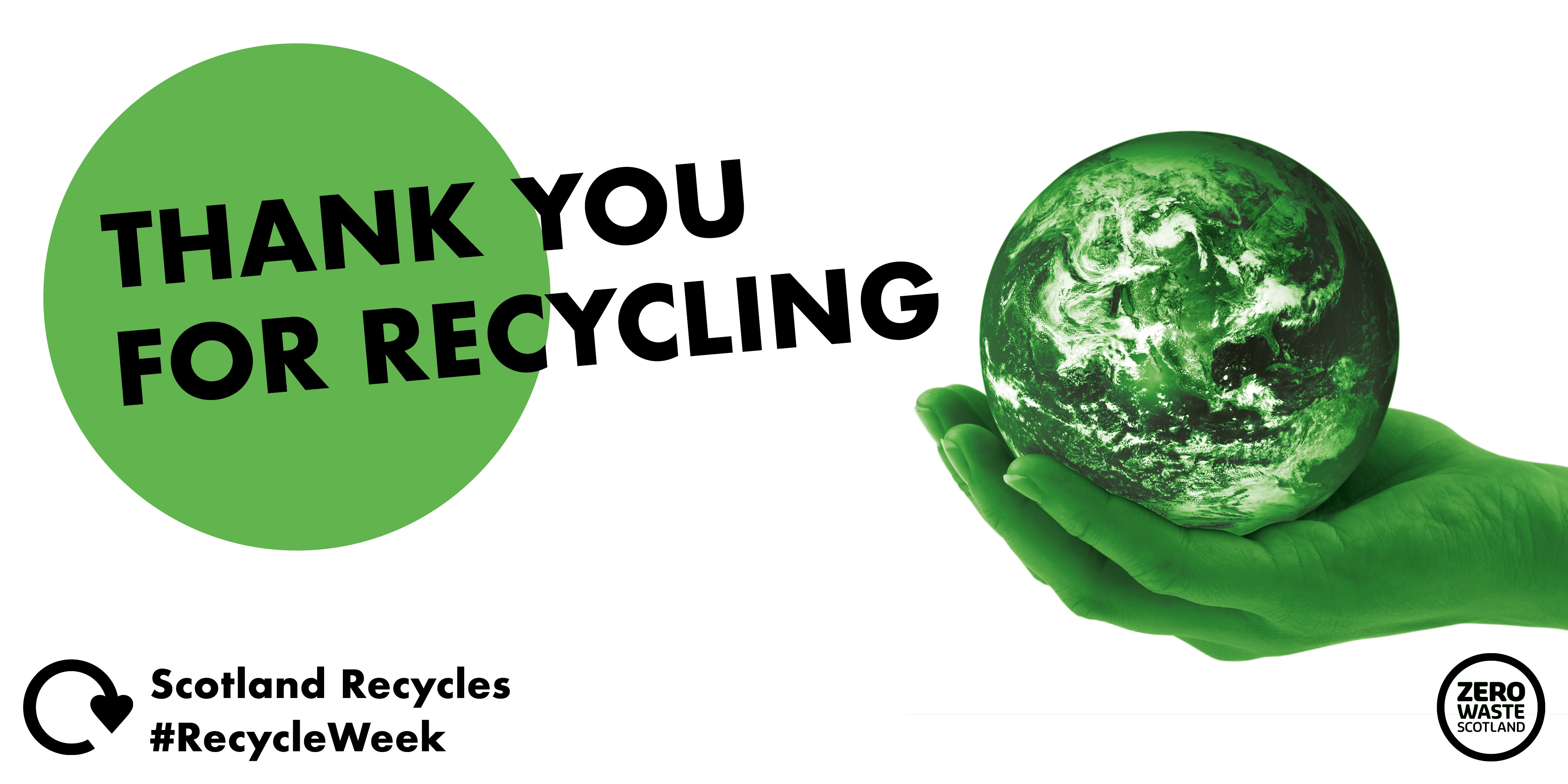 Thank you for recycling text over image of green hands holding a green model earth