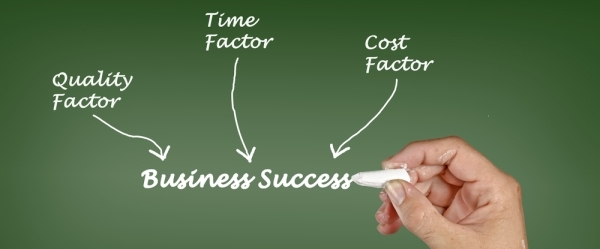 Chalk board with factors: Time, Quality and cost all with arrows pointing at Business Success