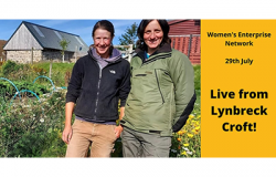 Two females standing in front of Lynbreck croft
