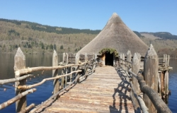 The Scottish Crannog Centre - reconstruction of an ancient dwelling house, built out into Loch Tay on stilts.