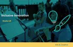 Inclusive Innovation logo - Two female musicians, each playing a violin
