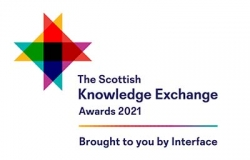 Logo showing four overlapping different coloured triangles with the wording Scottish Knowledge Exchange Awards 2021
