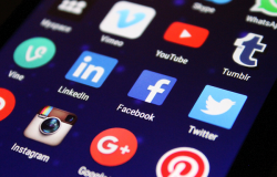 Close-up of social media icons